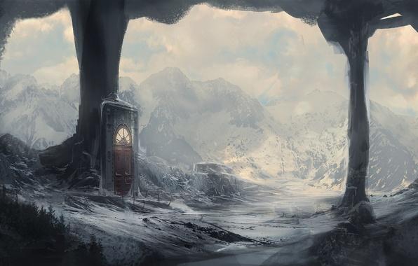 Картинка зима, снег, горы, портал, дверь, арт, колонны, грот, kingcloud