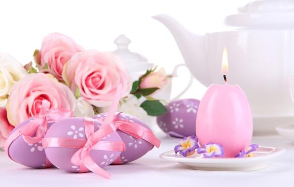 Картинка цветы, праздник, розы, свеча, яйца, весна, Пасха, розовые, пасхальные