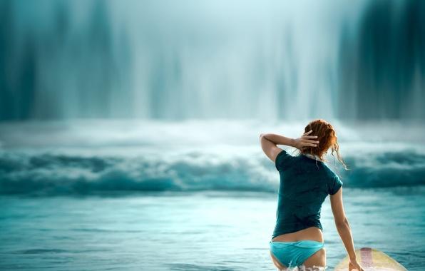 Картинка попа, вода, волна, серфер