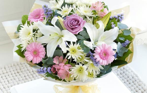 Картинка цветы, фото, лилии, розы, букет, герберы, хризантемы