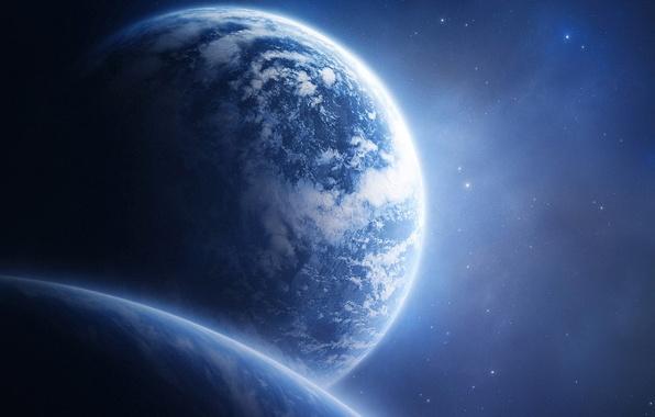 Картинка небо, космос, планеты, синее