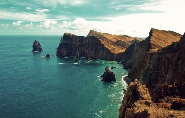 Картинка море, небо, вода, облака, пейзаж, природа, скалы, берег, sky, sea, landscape, nature, water, 1920x1200, clouds, …