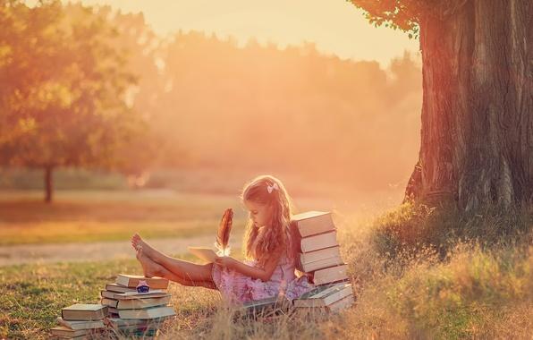 Картинка лето, перо, книги, девочка, творчество, The Letter