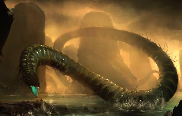 Картинка вода, туман, озеро, скалы, человек, змея, монстр, арт