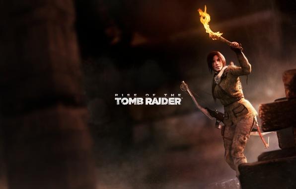 Картинка лук, факел, Tomb Raider, пещера, Lara Croft, Rise of the Tomb Raider