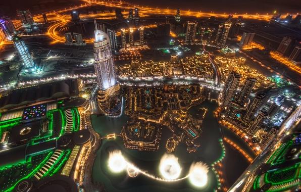 Картинка ночь, город, небоскребы, Dubai, дубай, ОАЭ, дубаи