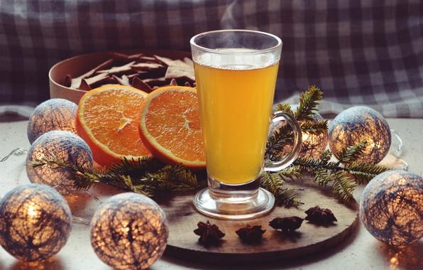 Картинка свет, украшения, стакан, бокал, горячий, апельсин, шоколад, ветка, Напиток