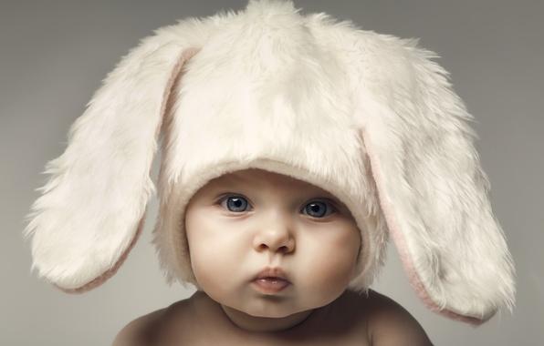 Картинка дети, малыш, Пасха, милый, hat, шляпы, Easter, funny, children, kid, веселые, счастливый ребенок, happy baby, …