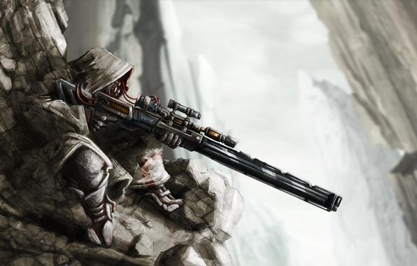 Картинка скалы, провода, арт, капюшон, снайпер, винтовка, sniper