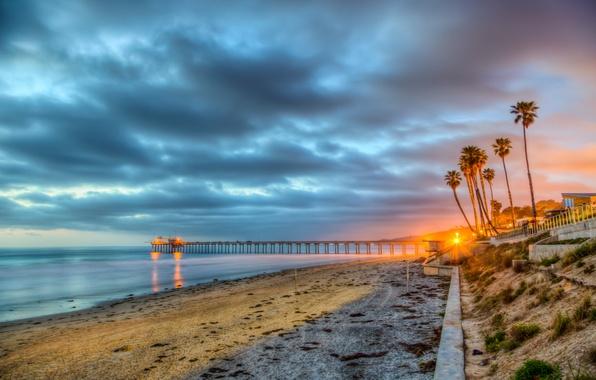 Картинка море, пляж, небо, облака, побережье, Калифорния, США, Сан-Диего
