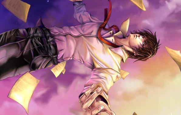 Картинка небо, падение, арт, листы, парень, Death Note, Light Yagami