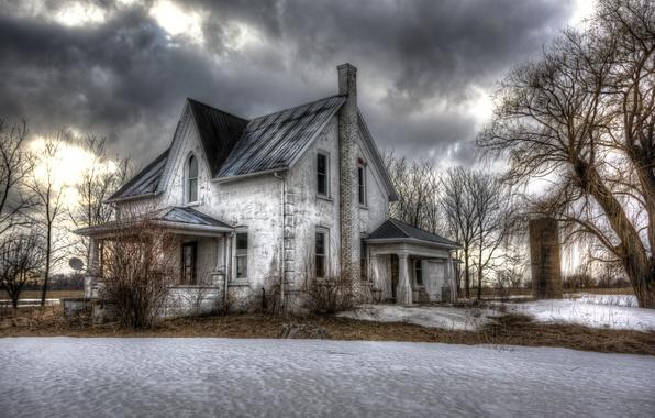 Фото обои зима, снег, дом