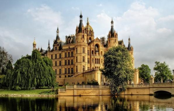 Картинка вода, деревья, замок, Германия, Шверин