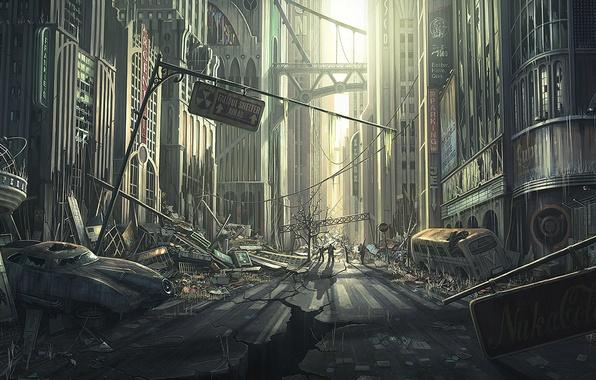 Картинка дорога, город, улица, арт, руины, fallout, автомобиль