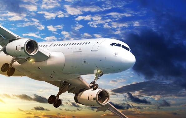 Картинка небо, облака, полет, закат, самолет, ракурс, пассажирский, авиалайнер
