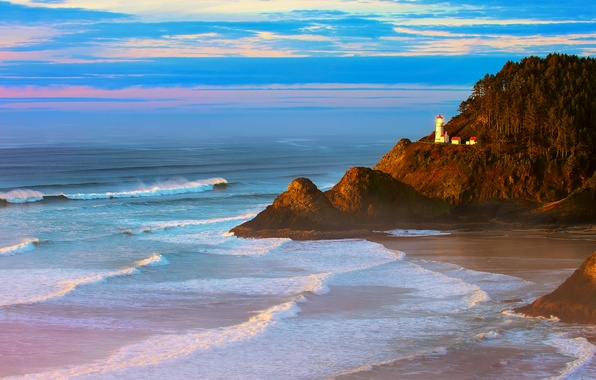 Картинка море, волны, лес, пляж, закат, скалы, маяк, вечер, Орегон, США, Тихий океан, Heceta Head Lighthouse