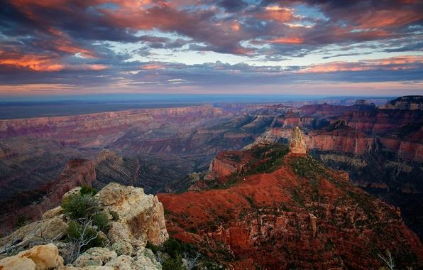 Картинка небо, облака, закат, скала, скалы, вечер, каньон, США, Гранд-Каньон, штат Аризона, Point Imperial