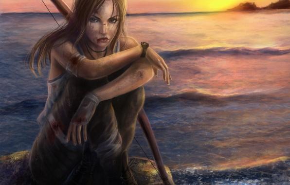 Картинка море, небо, взгляд, вода, девушка, закат, оружие, кровь, волосы, камень, игра, часы, майка, лук, перчатки, …