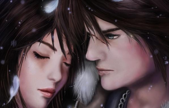 Картинка девушка, перья, лица, парень, закрытые глаза, Squall, Final Fantasy VIII, Rinoa