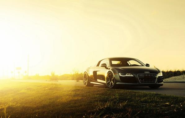 Картинка Audi, Black, Sun, V10, Supercar, Wheels, ADV.1, 2015