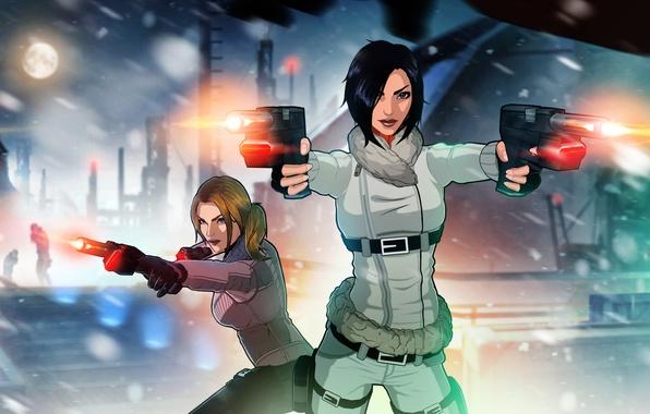 Картинка девушки, пистолеты, art, Fear Effect, Hana Tsu-Vachel, Rain Qin