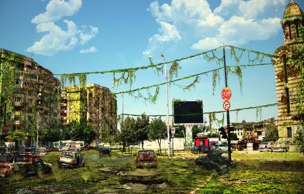 Картинка машины, город, развалины, постапокалипсис, art
