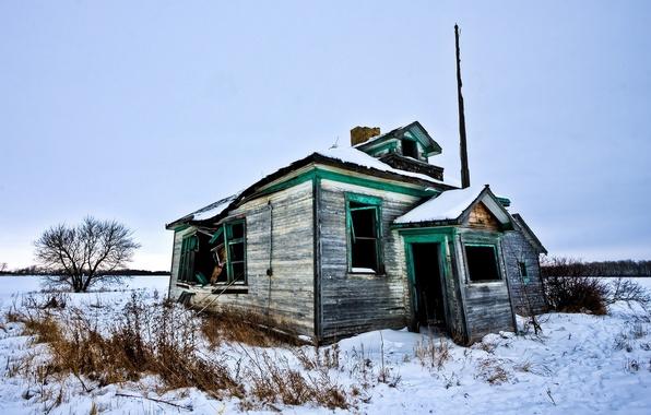 Картинка зима, снег, дом, разруха