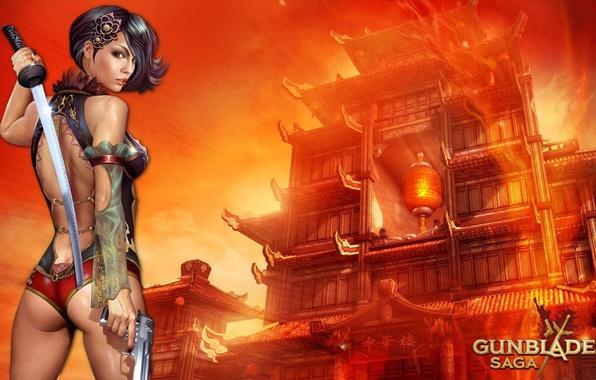 Картинка девушка, пистолет, оружие, меч, катана, girl, sword, gun, game wallpapers, Gunblade saga