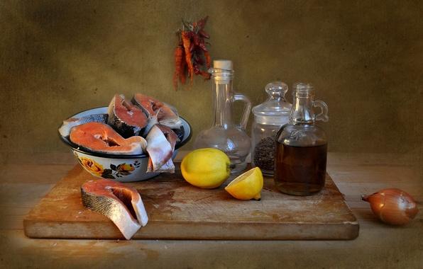 Картинка рыба, посуда, натюрморт, композиция, продукты
