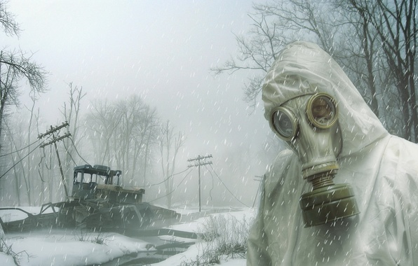 Картинка снег, человек, противогаз, Long Winter