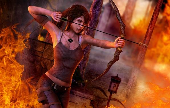 Картинка огонь, кровь, Девушка, выстрел, лук, медальон, повязка