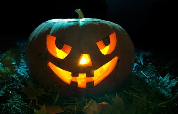 Картинка листья, ночь, свечи, оскал, тыква, хэллоуин, halloween