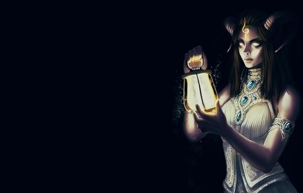 Картинка взгляд, свет, фон, фантастика, тьма, волосы, платье, арт, фонарь, рога, демоница