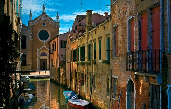 Картинка city, город, Италия, Венеция, канал, Italy, гондола, Venice