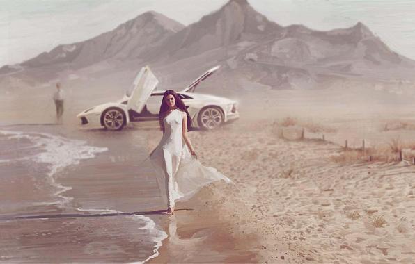 Картинка море, машина, девушка, побережье, арт, парень, porsche