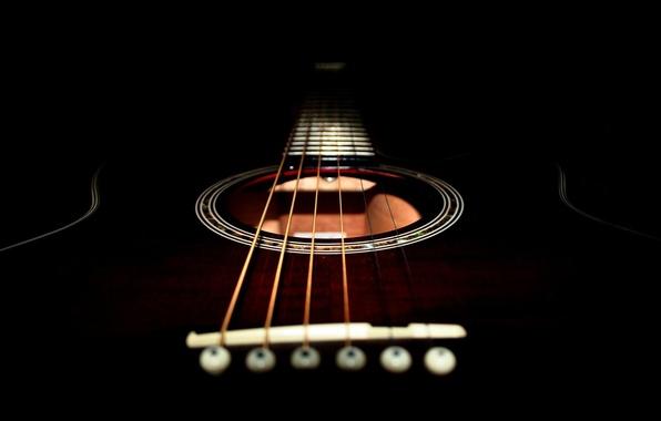 Картинка черный, гитара, струны