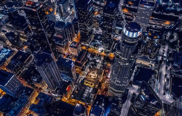 Картинка City, Cool, Urban, Night, Los Angeles, California, Downtown, Helicopter, Buildings, Cityscape, Achitecture