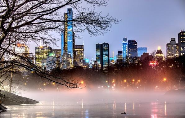 Картинка деревья, ветки, природа, город, огни, туман, озеро, парк, здания, дома, Нью-Йорк, небоскребы, вечер, USA, США, …