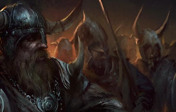 Картинка меч, воин, рога, шлем, борода, щит, викинг, Viking