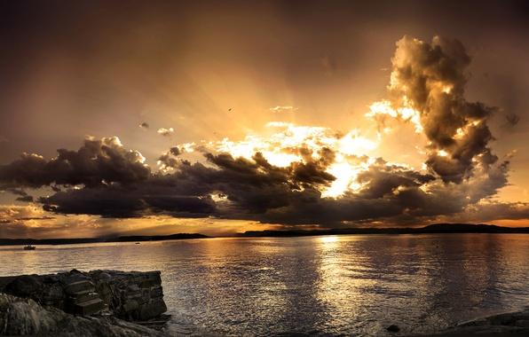 Картинка море, волны, небо, вода, закат, горы, камни, океан, горизонт, панорама, виды, красоты