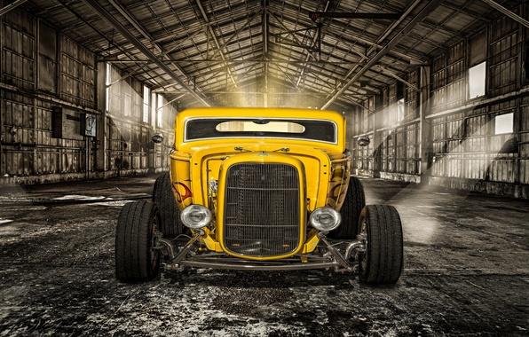 Картинка желтый, ретро, фары, ангар, классика, передок, hot-rod, classic car