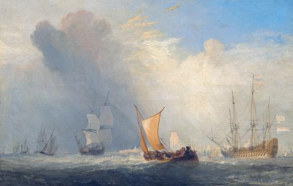 Картинка море, лодка, корабль, картина, парус, морской пейзаж, Уильям Тёрнер, Rotterdam Ferry Boat