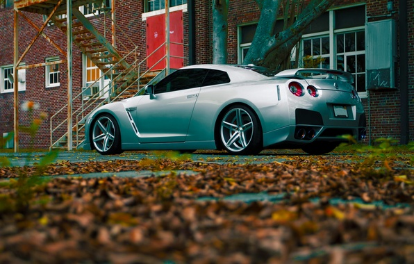 Картинка GTR, Nissan, Color, R35, Vossen, Silver, Wheels, Rear, CV5