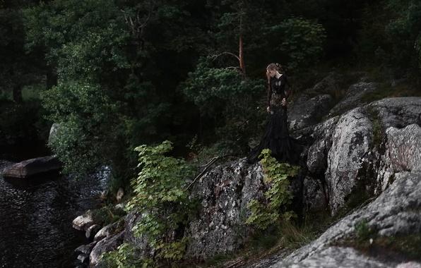 Картинка девушка, деревья, река, камни, Tatiana Mercalova, Ольга Кобзар