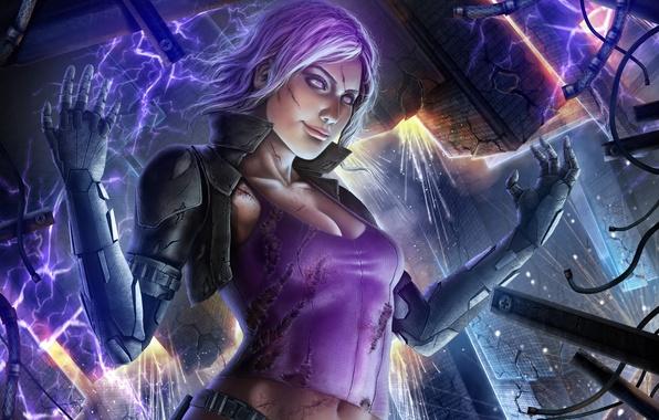 Картинка взгляд, девушка, фантастика, руки, электричество, киборг, art, women, arm