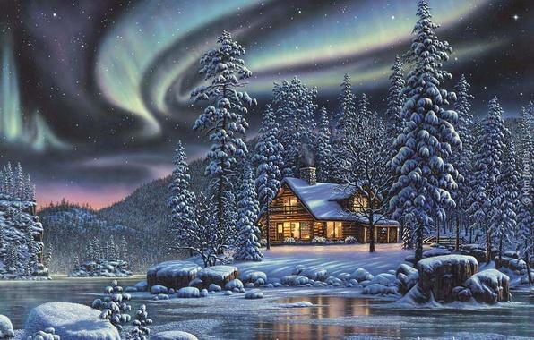 Картинка зима, лес, ночь, северное сияние, домик, речка