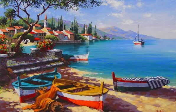 Картинка море, небо, пейзаж, горы, город, корабль, картина, бухта, лодки, Anatoly Metlan