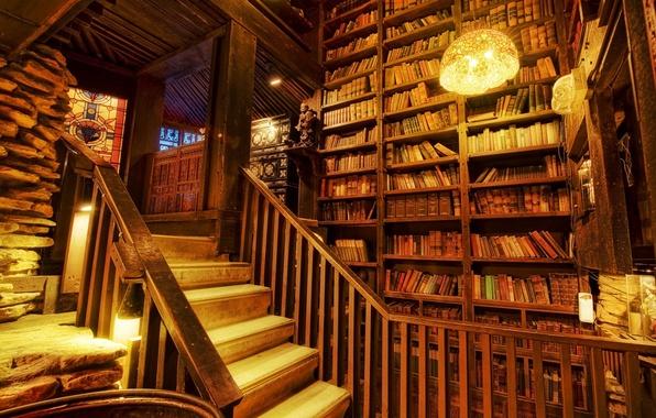 Картинка книги, лестница, витраж, библиотека, светильники