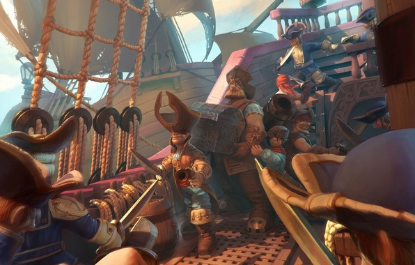 Картинка море, корабль, пушки, фэнтези, арт, капитан, паруса, пираты, fantasy, сундук, сокровища, Pirates, sea, сабли, art, …