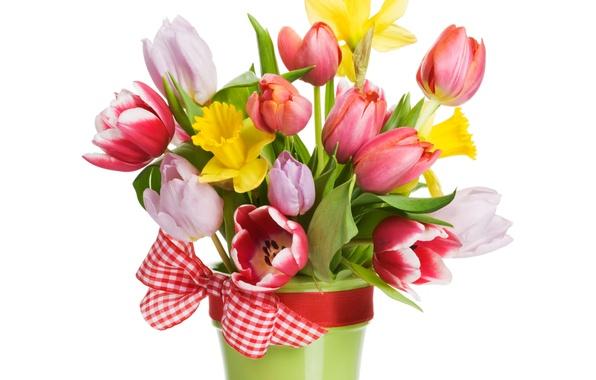 Картинка цветы, ленты, букет, весна, лепестки, тюльпаны, flowers, tulips, spring, bouquet, ribbon